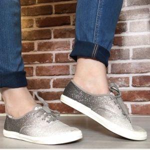 Grey White Sparkly Glitter Ombré Keds